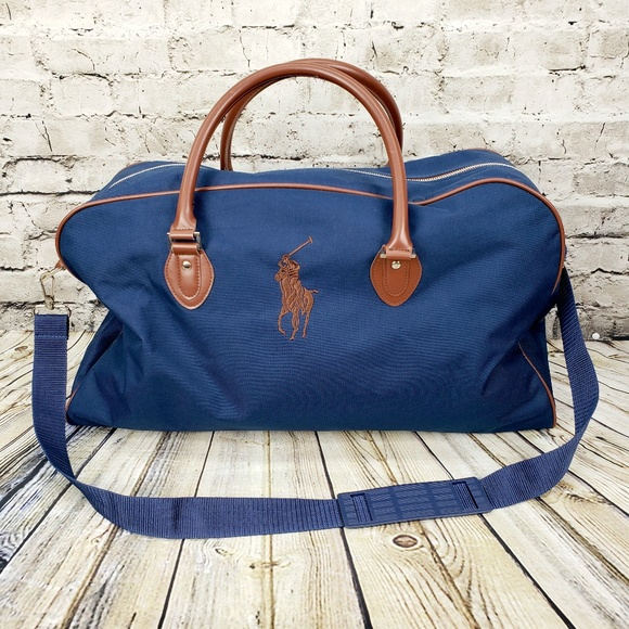 f50ac83e2802 Polo Ralph Lauren Weekender Duffel Bag Blue Brown.  M 5bbe61dcc9bf5027ef17a526